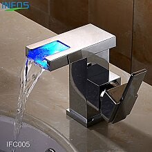 TougMoo Badezimmer Led Wasserfall Wasserhahn Waschtisch Armatur Spüle Tippen Messing Torneira Banheiro Waschtisch Armatur Wasserhahn IFC 005 Tippen
