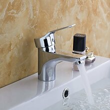 TougMoo Billiger kleine Becken Armaturen Torneira Wasserfall Bad Chrom Deck montiert 8359 1 Messing einzigen Griff Waschbecken Armaturen, Mischer und Armaturen, Chrom, Weiß