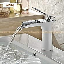 TougMoo Chrom und Weiß Oberfläche Wasserfall Armatur BAD Badezimmer Waschtisch Armatur mit heißem und kaltem Wasser 6009, weiß