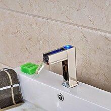 TougMoo Deck befestigten Led Wasserfall Bad Armatur chrom die Hände frei für Wasserhähne, Chrom