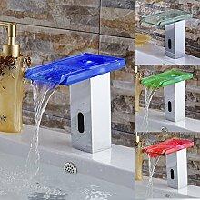 TougMoo Die Einsparung von Wasser die Hände frei Automatische Infrarot Sensor tippen Sie auf Bad Sensor Wasserhahn berührungslosen Glas Bad Armatur Wasserfall Led