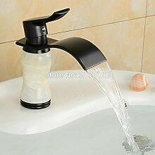 TougMoo Fancy Style Schwarz Bronze Badezimmer Waschtisch Armatur mit weißem Marmor Körper schwarz lackiert Waschtisch Wasserfall Armatur M-018 Tippen