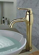 TougMoo Gold Bad Waschbecken Armaturen mit Kupfer, Messing Spülbecken Mischbatterien mit keramischen Ventileinsatz