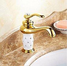 TougMoo Gold Bad Waschbecken Wasserhahn, Messing mit Diamond Crystal Körper tippen Sie auf Neues Luxus Waschbecken Wasserhahn warmes und kaltes Wasser