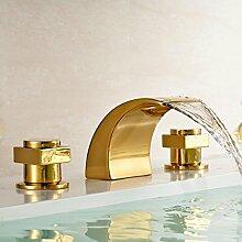 TougMoo Gold-Plate Badezimmer mit zwei Waschbecken mit Wasserhahn Wasserfall breite Becken Wasser Mischbatterie