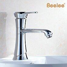 TougMoo Gold voll Kupfer Waschbecken Wasserhahn Zuspitzung Zähler Becken künstlerische Waschbecken Wasserhahn warmes und kaltes Wasser Rotation, Gelb