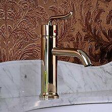 TougMoo Hohe Qualität Hohe Qualität aus Messing vergoldet Einhebelsteuerung, Waschbecken Armatur Waschtisch Armatur