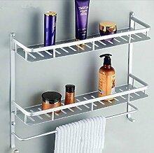 Tougmoo Hohe Qualität zwei Layer Badezimmer Platz im Rack Aluminium Handtuch Duschkorb Bar Regal / accessoires badezimmer Bademöbel Hj -2517