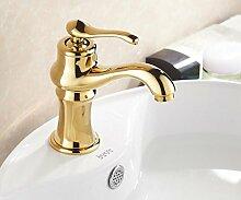 TougMoo Im europäischen Stil, goldene Armaturen Badezimmer Waschbecken Mischbatterie für Kaltes und Warmes Wasser Hahn Gold poliert Messing Wasserhahn