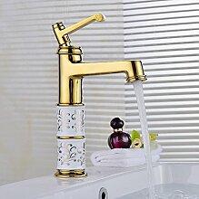 TougMoo Im europäischen Stil Rose Golden Badezimmer Waschbecken Mischbatterie mit Chrom poliert Heiß Kalt Badezimmer Waschbecken Mischbatterie, Burgund