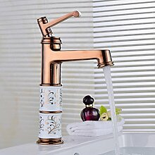TougMoo Im europäischen Stil Rose Golden Badezimmer Waschbecken Mischbatterie mit Chrom poliert Heiß Kalt Badezimmer Waschbecken Mischbatterie, Hellgrün