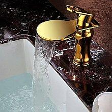 TougMoo Klassisches Design Wasserfall Wasserhahn Bad Waschbecken Wasserhahn Golden Badezimmer Mischbatterie Waschbecken Tippen Wasserfall SD-L-002C, Gelb