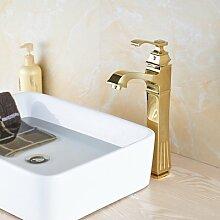 TougMoo Luxus gold Finish Badezimmer Waschbecken Mischbatterie Mischbatterie mit Heiß Kalt Wasserhähne, Groß