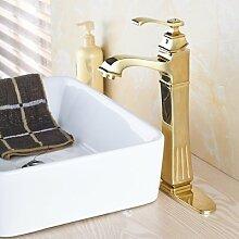 TougMoo Luxus gold Finish Badezimmer Waschbecken Mischbatterie Mischbatterie mit Heiß Kalt Wasserhähne, Hoch, mit Deckel