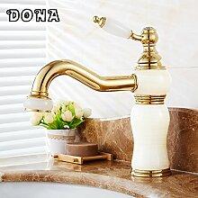 TougMoo Luxus Kran Gold Wasserhahn Messing Mixer Marmor Waschbecken mit warmen und kalten Wasserhahn Deck montiert Bad Armatur4013B, Messing, Gold Tippen