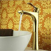 TougMoo Luxus Messing Waschtischmischer, Gold Farbe Waschbecken Wasserhahn, Deck montiert, L 14147, Messing, Gelb