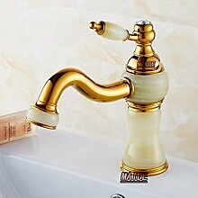 TougMoo Luxus Vergoldet aus massivem Messing & Natürliche Jade Stein Wasserhahn Golden Waschbecken Bad Armatur Mixer Leitungswasser