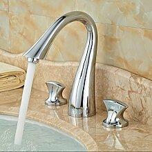 TougMoo Luxus Waschtisch Armatur Wasserhahn aus Messing mit Griff 3 Loch Waschbecken Wasserhähne verchrom
