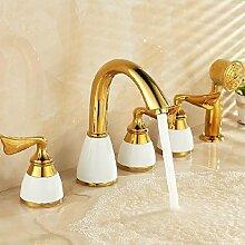 TougMoo Luxus Wasserfall Armatur Badewanne Badezimmer Badewanne Mischbatterien mit 5 Stück Set Badewanne Waschbecken Wasserhahn SE-7128