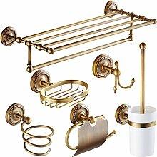 Tougmoo Messing antik Luxus Badezimmer Accessoires Papierhalter WC-Bürste Rack Ware Korb Regal Seifenhalter Wandmodell Fön, Totall