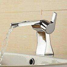 TougMoo Messing verchromt Wasserfall Armatur BAD Badezimmer Waschtisch Armatur mit heißem und kaltem Wasser 6010L,Chrom
