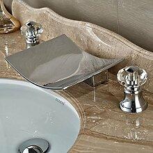 TougMoo mit Bad Armatur Standmontage verbreitete Waschtisch Armatur chrom 3 Löcher,Chrom, Stil 3