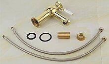 TougMoo Mode Golden Badezimmer Waschbecken Mischbatterie mit massivem Messing Becken Tippen von Heiß Kalt Gold Basin Wasserhahn, einschließlich 2 Stück Schlauch