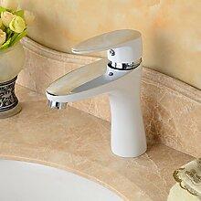 TougMoo Mode vier Farben wählbaren Gebackene lackiert Badezimmer Mixer Waschbecken Wasserhahn Schwarz Weiß Grün Orange waschen Waschtisch Armatur 2128, Weiß ohne Schlauch