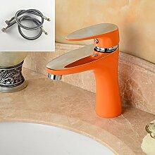 TougMoo Mode vier Farben wählbaren Gebackene lackiert Badezimmer Mixer Waschbecken Wasserhahn Schwarz Weiß Grün Orange waschen Waschtisch Armatur 2128, Orange mit Schlauch