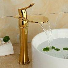 TougMoo Neu Vergoldet Badezimmer Waschbecken Wasserhahn zeitgenössische Kunst Messing Mischbatterie Wasserfall Wasserhahn G 104, Messing, Gelb
