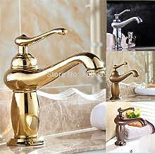 TougMoo Neue Ankunft Luxus Badezimmer Armatur, Deck montiert Messing Chrom europäischen Badezimmer Waschbecken Tippen Armatur, Chrom, Braun
