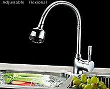 TougMoo Neue Deck Mount Küchenarmatur Herausziehen zwei schwenkbaren Auslauf Frühling Mischbatterie Chrom Single Handle Faucet,silber