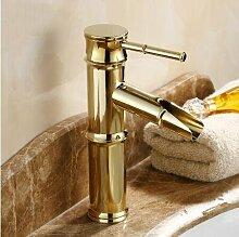 TougMoo Neue Gold massiv Messing Badezimmer Waschbecken Wasserhahn einzigen Griff mit Diamond Waschtischmischer Banheiro Torneira, kurze und Gold