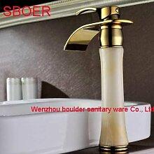 TougMoo Neue lange Wasserfall weißer Marmor Stein Jade aus massivem Messing Kupfer Gold Bad Waschbecken Toilette Waschbecken Schiff Mischer Hahn Tippen