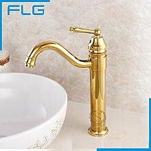TougMoo Neue Waschbecken mit warmen und kalten Mixer, Kupfer einzigen Griff tippen, Gold Farbe Badezimmer Waschbecken Armaturen