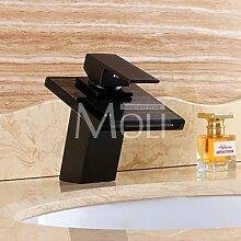 TougMoo Öl eingerieben Bronze Wasserhahn modernes Badezimmer Waschbecken Armaturen Wasserfall Mischbatterie Schwarz Single Griff Glas Auswurfkrümmer, Dunkelgrau