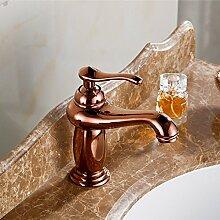 TougMoo Rose Gold Bad Armatur mit einem Griff aus massivem Messing Badezimmer Waschbecken Armaturen