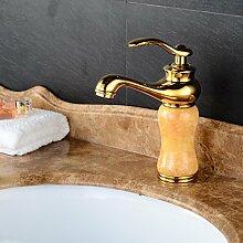 TougMoo Stein goldenen Wasserhahn und solides Messing Badezimmer Mixer mit einzigen Griff Heiß Kalt Gold Waschbecken Armaturen, Burgund Tippen
