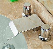 TougMoo Wasserfall Auswurfkrümmer verbreitete Badezimmer Waschbecken Wasserhahn Double Handles Waschbecken Armatur chrom Tippen