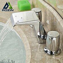 TougMoo Weit verbreitete Badezimmer Wasserfall Waschbecken Wasserhahn mit Doppelgriff Dual Griff Mischbatterien Chrom, Chrom