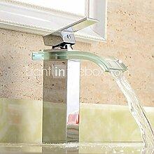 TougMoo Zeitgenössische verchromte Oberfläche Wasserfall Waschbecken Armatur mit Glas Auswurfkrümmer