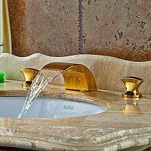 Tourmeler 3 pcs Deck montiert Gold polnischen Waschbecken Wasserhahn Bad Schiff Waschbecken tippen Sie heiß & kalt Wasserhahn, Gelb