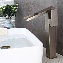 Tourmeler Bad Armatur Wasserfall Mischbatterie. Orb/Nickel gebürstet Wasserfall Waschbecken Waschbecken Wasserhahn mit heißem und kaltem Wasser Br -20174001, Nickel gebürste