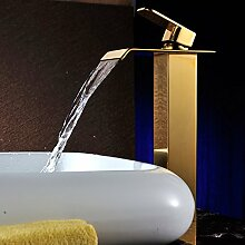 Tourmeler Badezimmer Armaturen Goldenes Waschbecken Mischbatterie Wasserfall Waschbecken Wasserhahn SD-S-H-007 A, Gelb Tippen