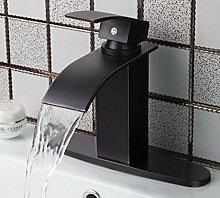 Tourmeler Badezimmer Waschbecken Wasserhahn Wasserfall Auslauf Mischbatterie Luxus Öl eingerieben Bronze Schiff Waschtisch Armatur + Loch Abdeckplatte, Dunkelgrau