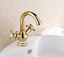 Tourmeler Blau und Weiß Porzellan Badezimmer Armatur mit Gold, Schiff Waschbecken Wasserhahn mit 2 Griffen, halten Sie gedrückt, und tippen Sie auf kalten Badezimmer