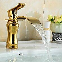 Tourmeler Breites Auswurfrohr goldene Wasserhähne Badezimmer Waschbecken Wasserhahn Messing Mischbatterie Wasserfall Wasserhahn G1060, Messing, Gelb