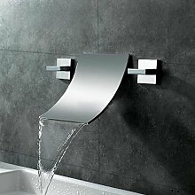 Tourmeler Chrom aufgebrauchter Messing Wand montiert Wasserfall Square Bad Armatur Dual Griff Heißes und Kaltes Wasser Waschbecken Mischbatterie Waschbecken Armaturen, EIN