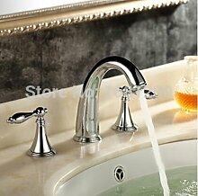 Tourmeler Chrom poliert Deck montiert Wasserfall 3 pcs Waschbecken Wasserhahn Dual Griffe Badezimmer Waschbecken Armaturen HJ-9320, Chrom
