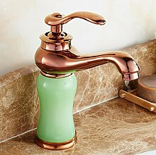 Tourmeler Continental Waschbecken Wasserhahn Heiß Kalt Jade Green Marmor Waschtisch Armatur Waschbecken 100% Kupfer Gold, Gelb Tippen